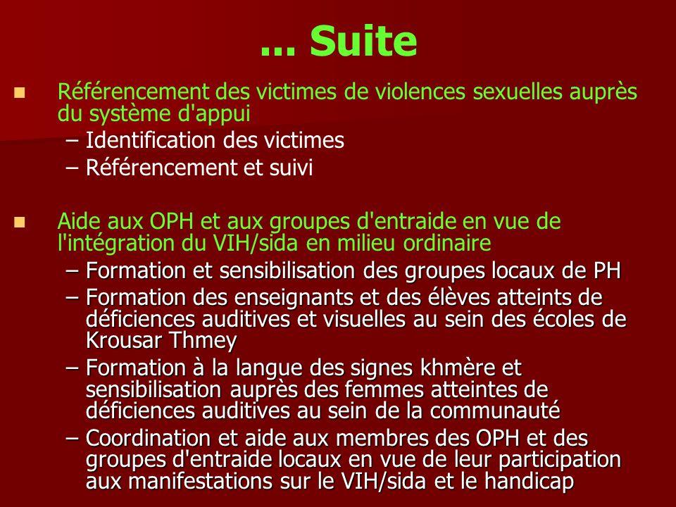 ... Suite Référencement des victimes de violences sexuelles auprès du système d appui. Identification des victimes.