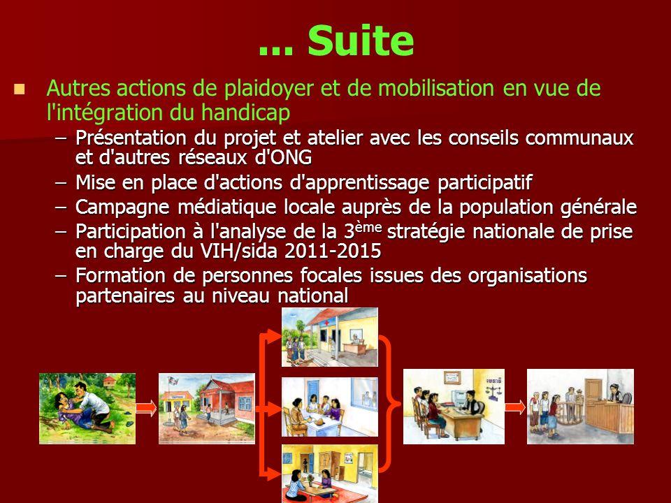 ... Suite Autres actions de plaidoyer et de mobilisation en vue de l intégration du handicap.