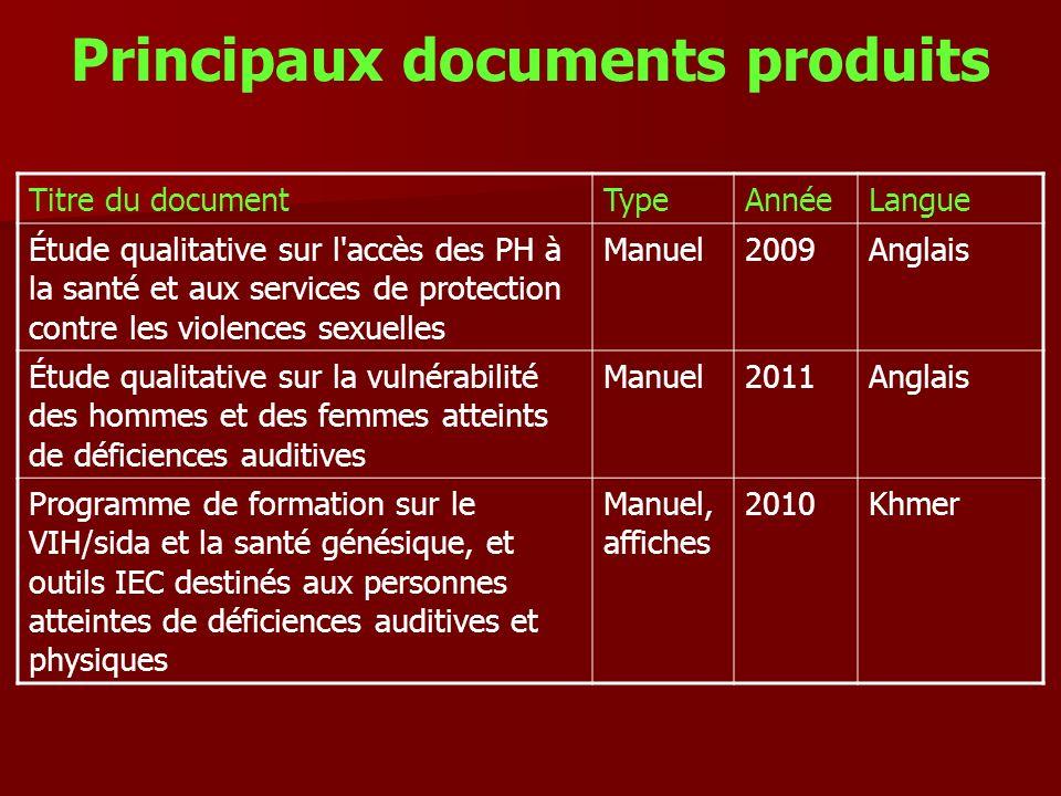Principaux documents produits