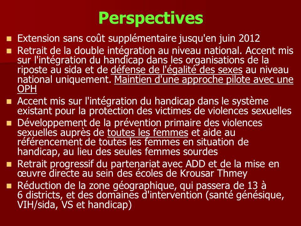 Perspectives Extension sans coût supplémentaire jusqu en juin 2012