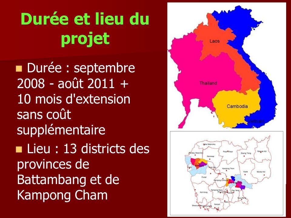 Durée et lieu du projet Durée : septembre 2008 - août 2011 + 10 mois d extension sans coût supplémentaire.