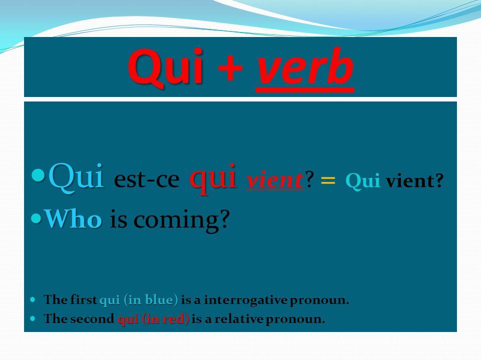 Qui + verb Qui est-ce qui vient = Qui vient Who is coming
