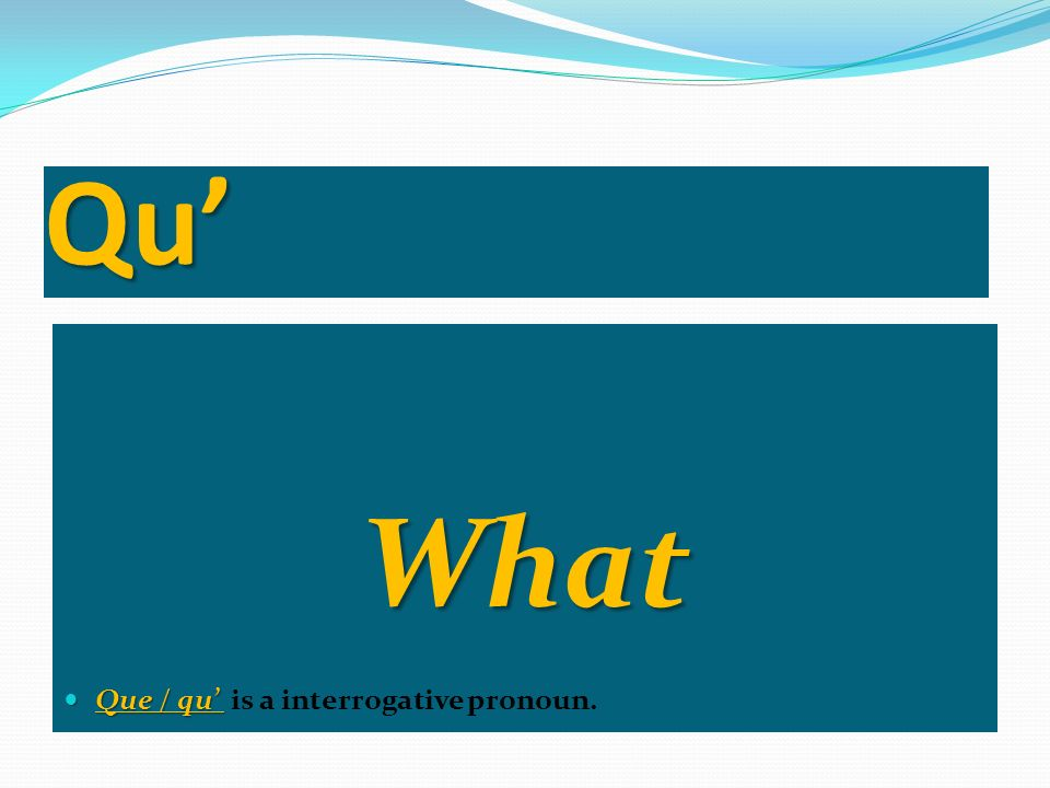 Qu' What Que / qu' is a interrogative pronoun.