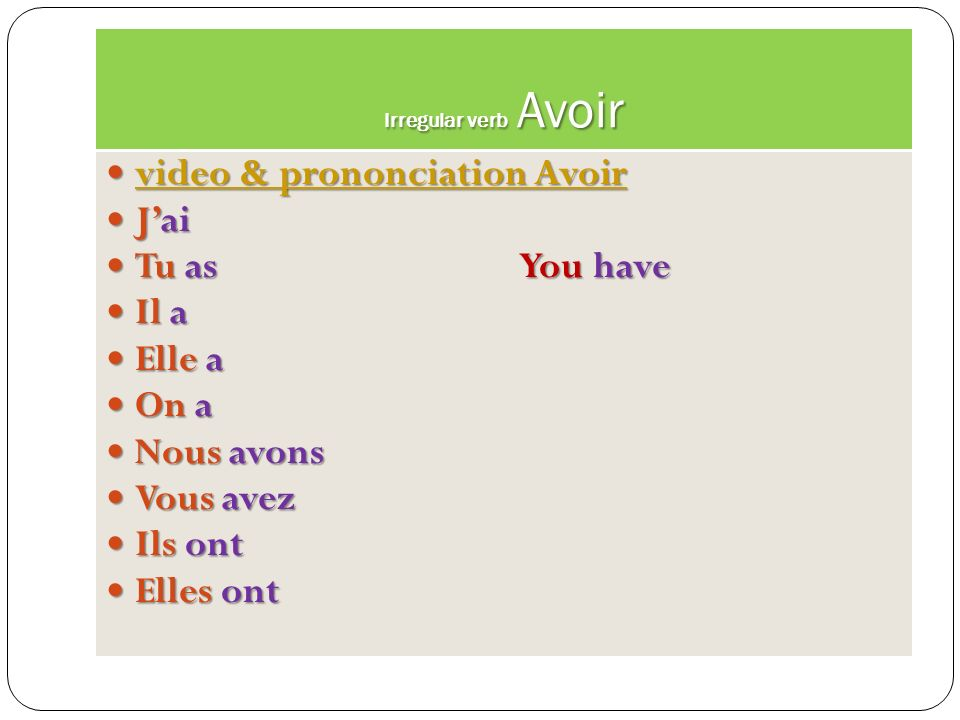 video & prononciation Avoir J'ai Tu as You have Il a Elle a On a