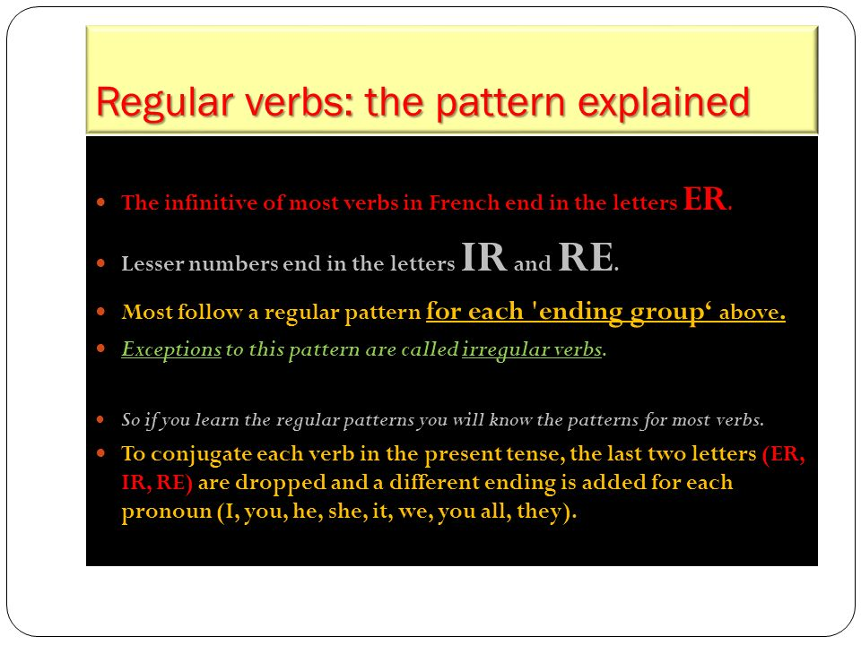 Regular verbs: the pattern explained