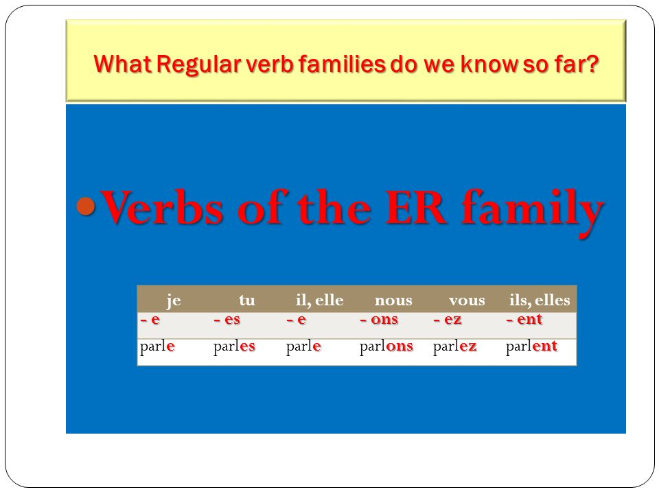 What Regular verb families do we know so far