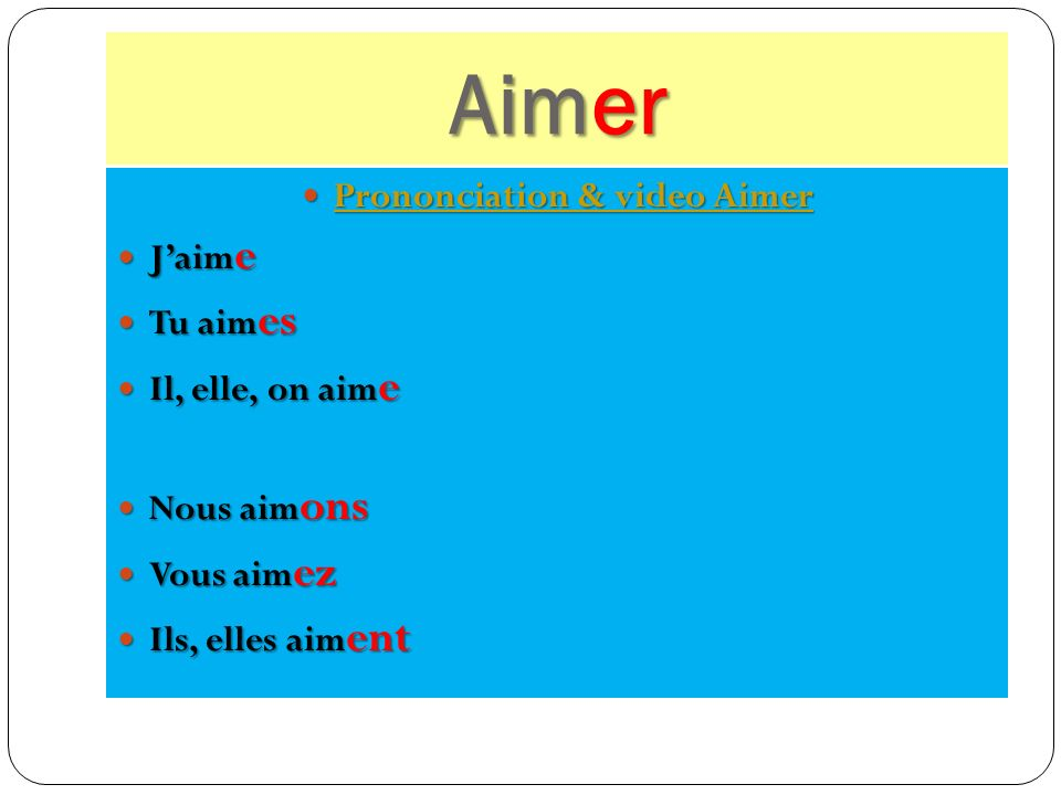 Prononciation & video Aimer
