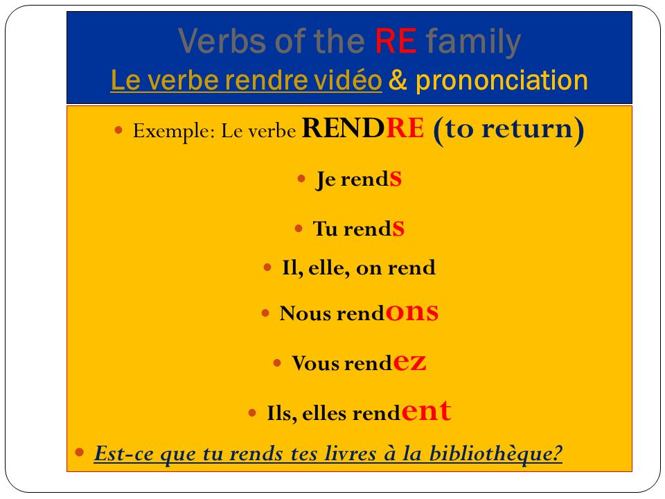Verbs of the RE family Le verbe rendre vidéo & prononciation
