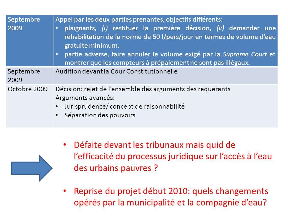 Septembre 2009 Appel par les deux parties prenantes, objectifs différents: