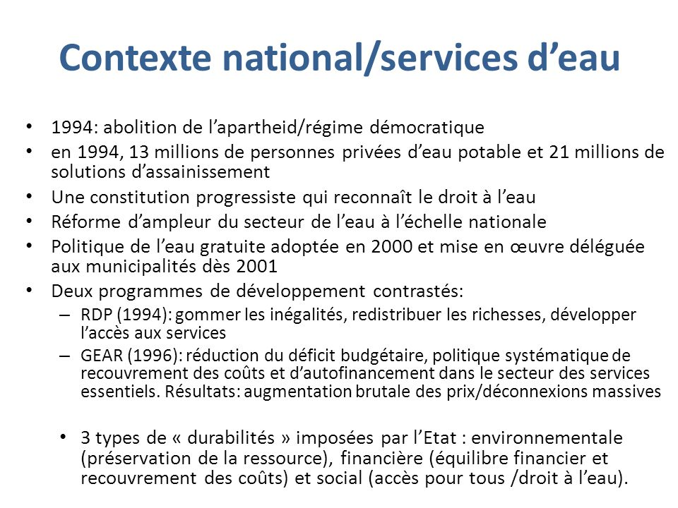 Contexte national/services d'eau