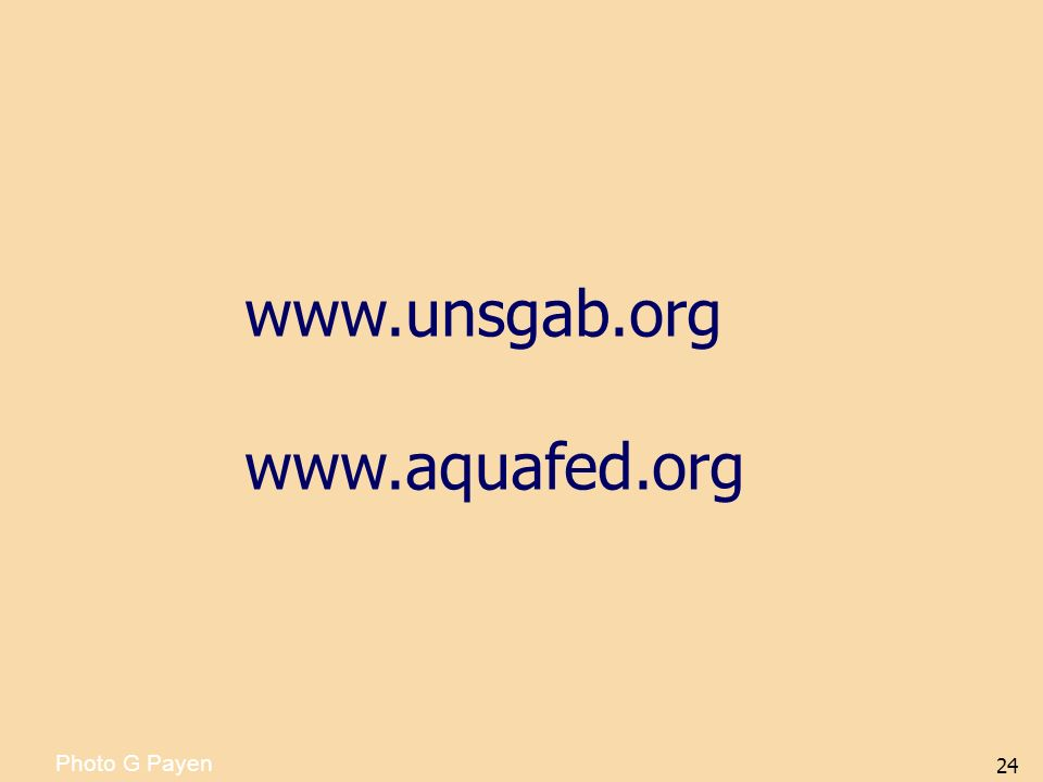 www.unsgab.org www.aquafed.org Photo G Payen