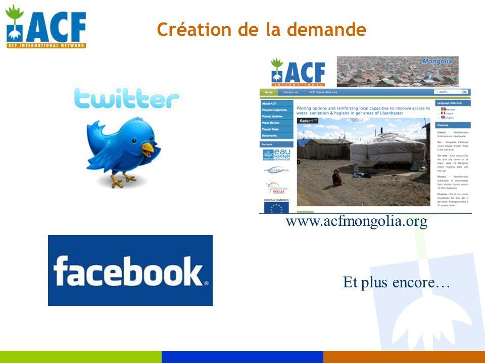 Création de la demande www.acfmongolia.org Et plus encore…