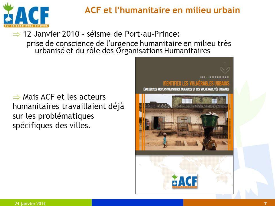 ACF et l'humanitaire en milieu urbain