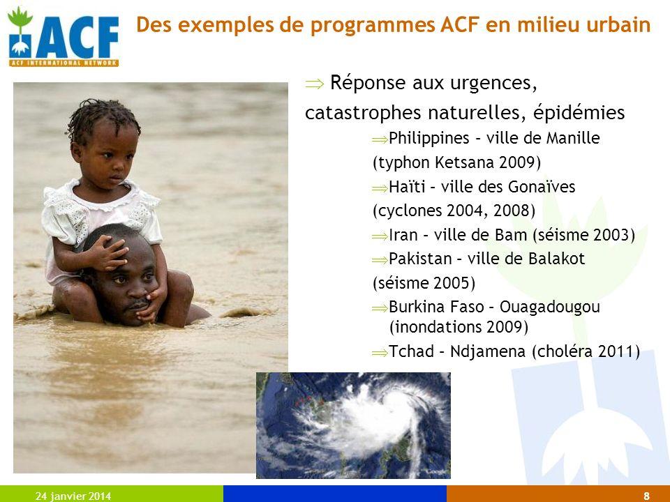 Des exemples de programmes ACF en milieu urbain