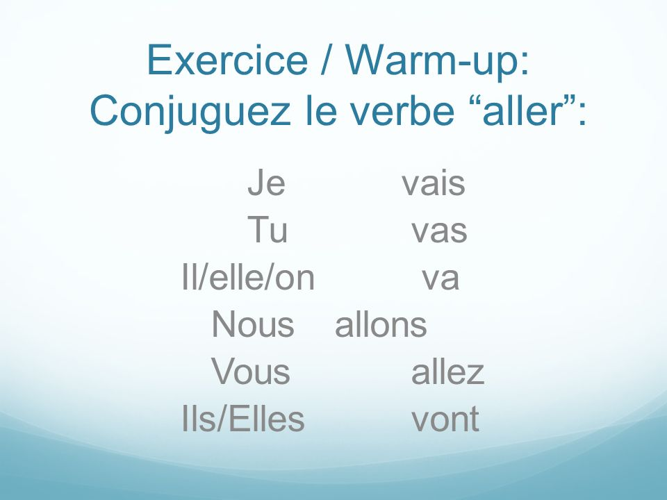 Exercice / Warm-up: Conjuguez le verbe aller :