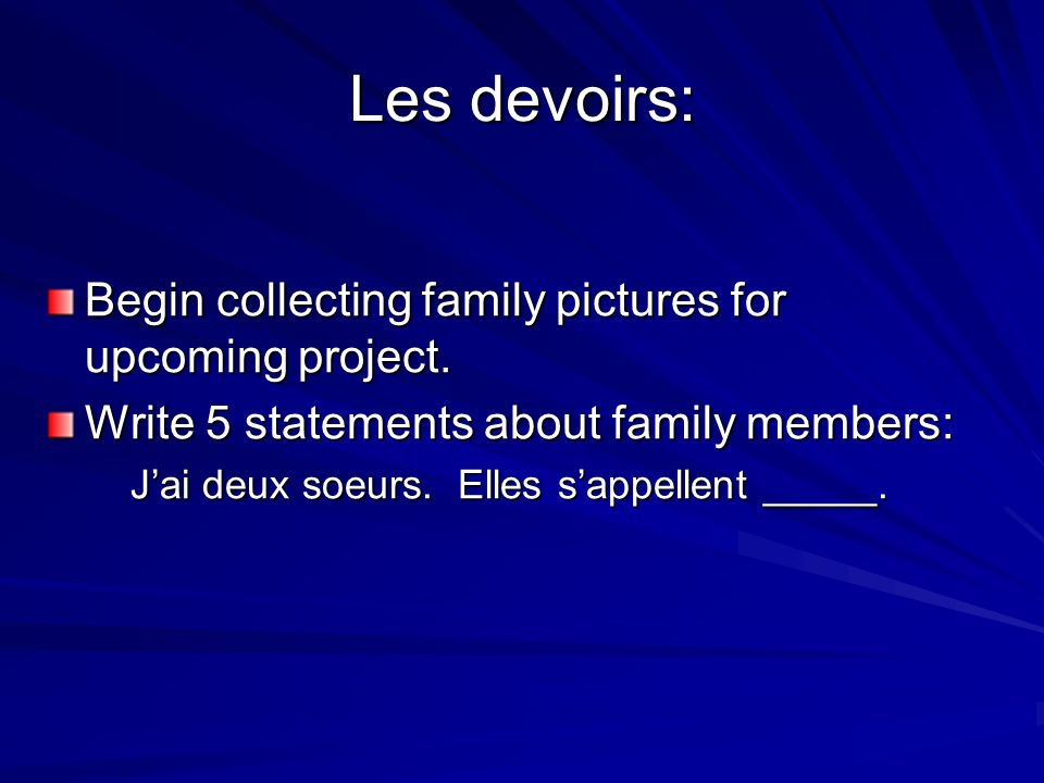 Les devoirs: Begin collecting family pictures for upcoming project.