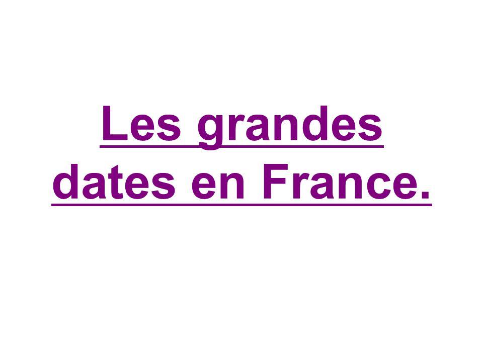 Les grandes dates en France.