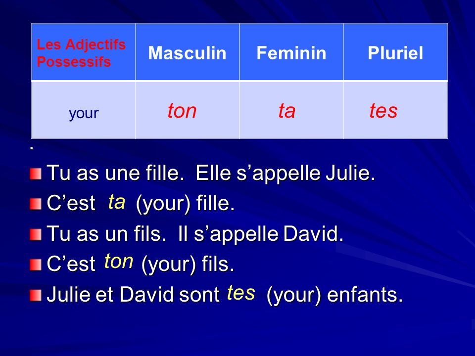 Tu as une fille. Elle s'appelle Julie. C'est (your) fille.