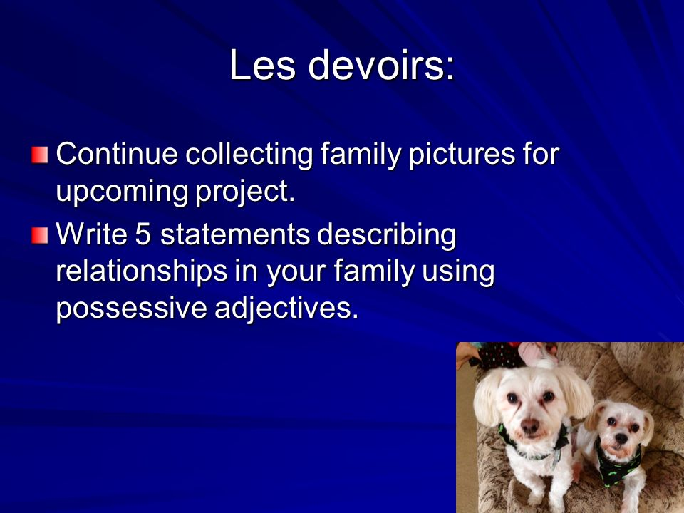 Les devoirs: Continue collecting family pictures for upcoming project.