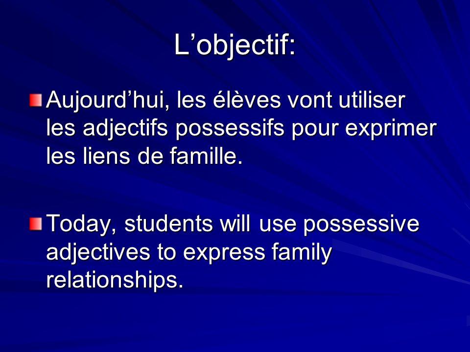 L'objectif: Aujourd'hui, les élèves vont utiliser les adjectifs possessifs pour exprimer les liens de famille.