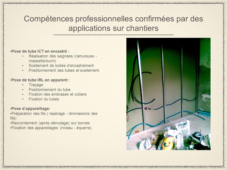 Compétences professionnelles confirmées par des applications sur chantiers