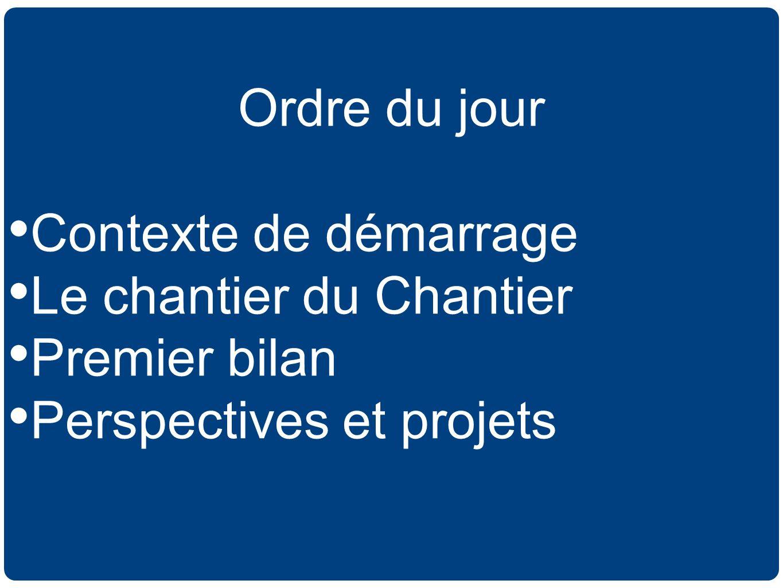 Ordre du jour Contexte de démarrage Le chantier du Chantier Premier bilan Perspectives et projets