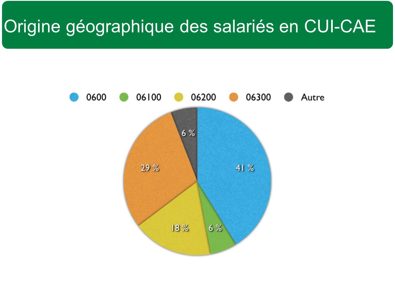 Origine géographique des salariés en CUI-CAE