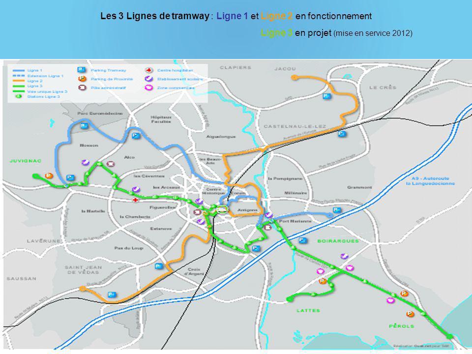 Les 3 Lignes de tramway : Ligne 1 et Ligne 2 en fonctionnement