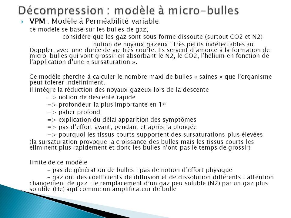 Décompression : modèle à micro-bulles
