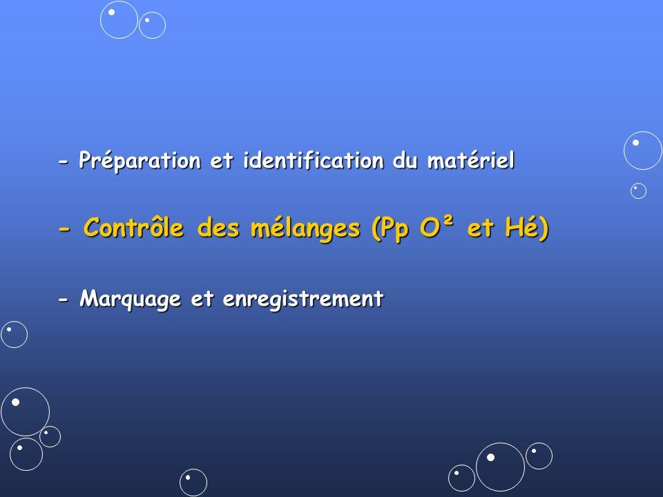 - Contrôle des mélanges (Pp O² et Hé)