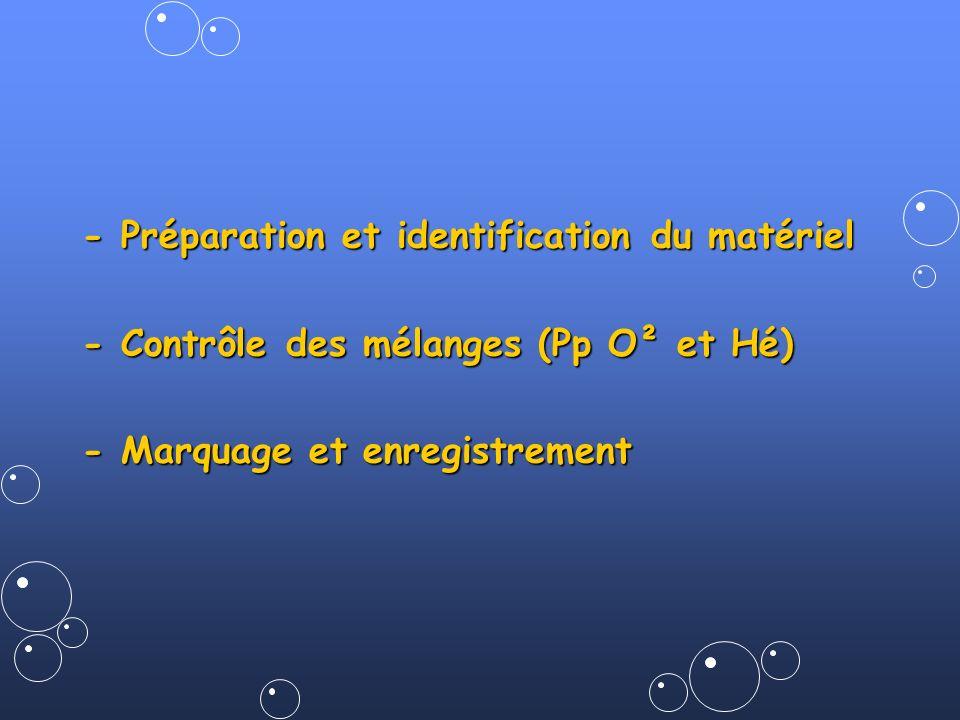 - Préparation et identification du matériel