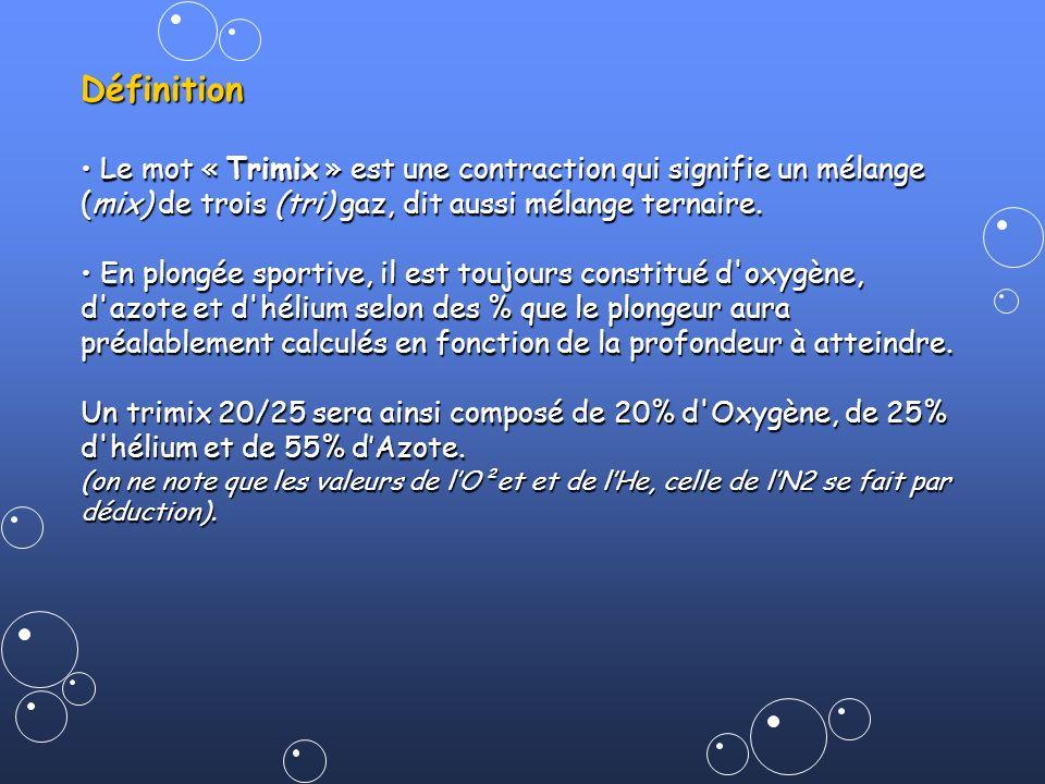 Définition• Le mot « Trimix » est une contraction qui signifie un mélange (mix) de trois (tri) gaz, dit aussi mélange ternaire.