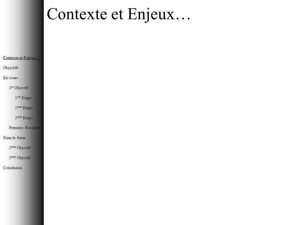 Contexte et Enjeux… Contexte et Enjeux… Objectifs En cours…