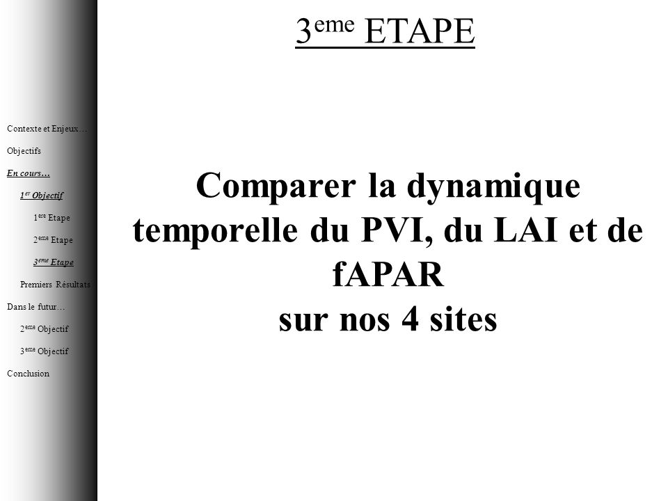 Comparer la dynamique temporelle du PVI, du LAI et de fAPAR