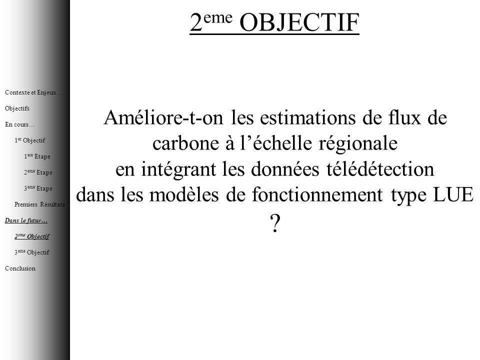 Contexte et Enjeux… Objectifs. En cours… 1er Objectif. 1ere Etape. 2eme Etape. 3eme Etape. Premiers Résultats.