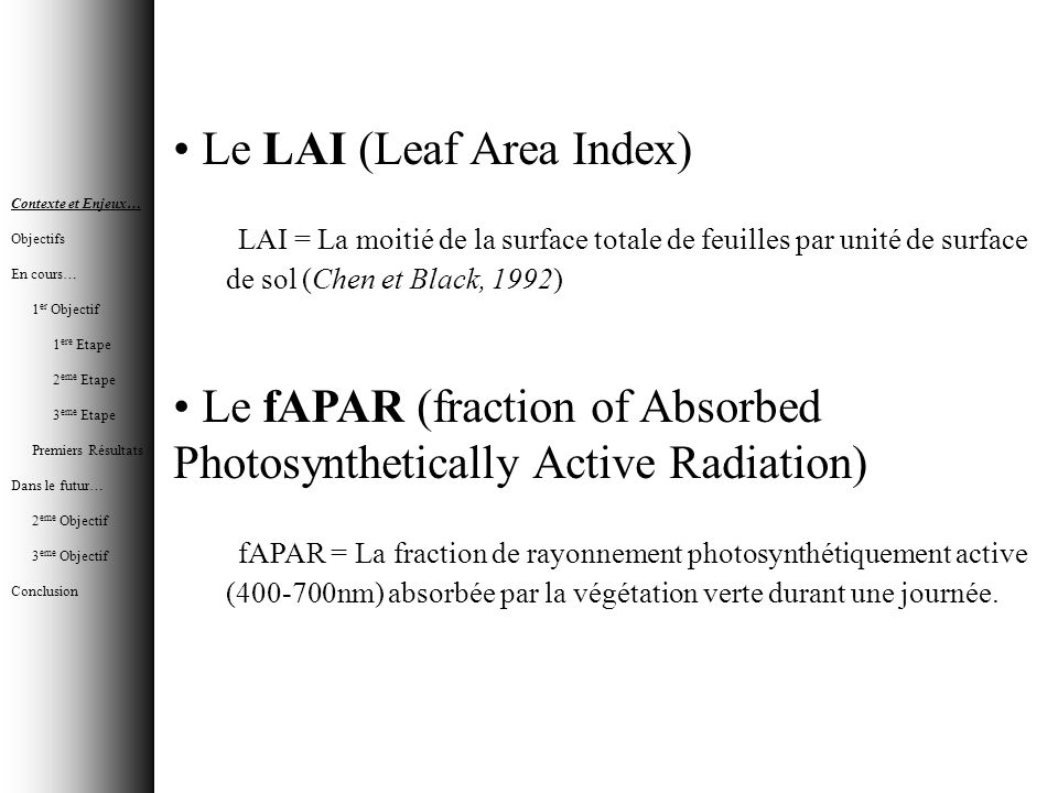 Le LAI (Leaf Area Index)