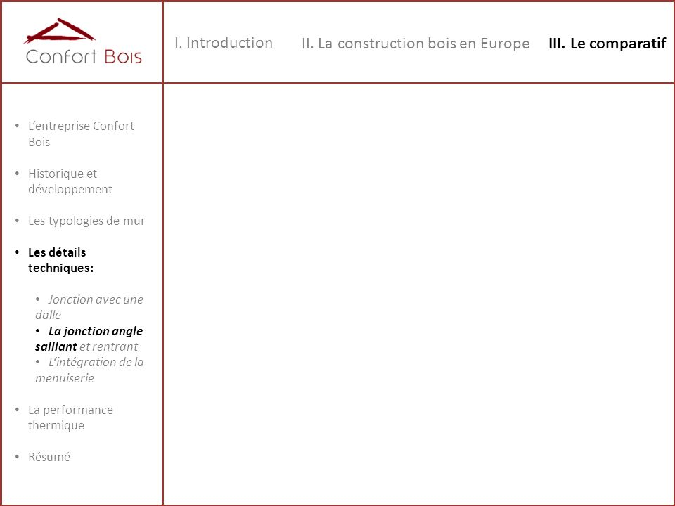 II. La construction bois en Europe III. Le comparatif
