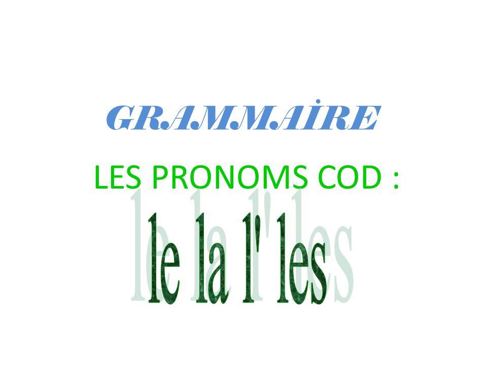 GRAMMAİRE LES PRONOMS COD : le la l les