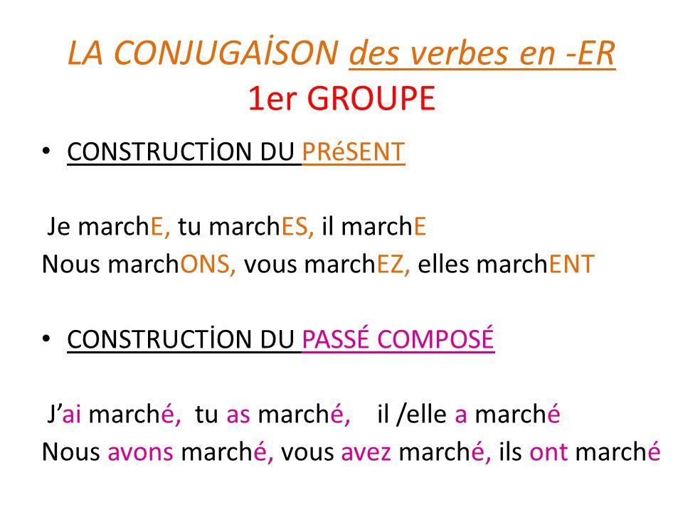 LA CONJUGAİSON des verbes en -ER 1er GROUPE