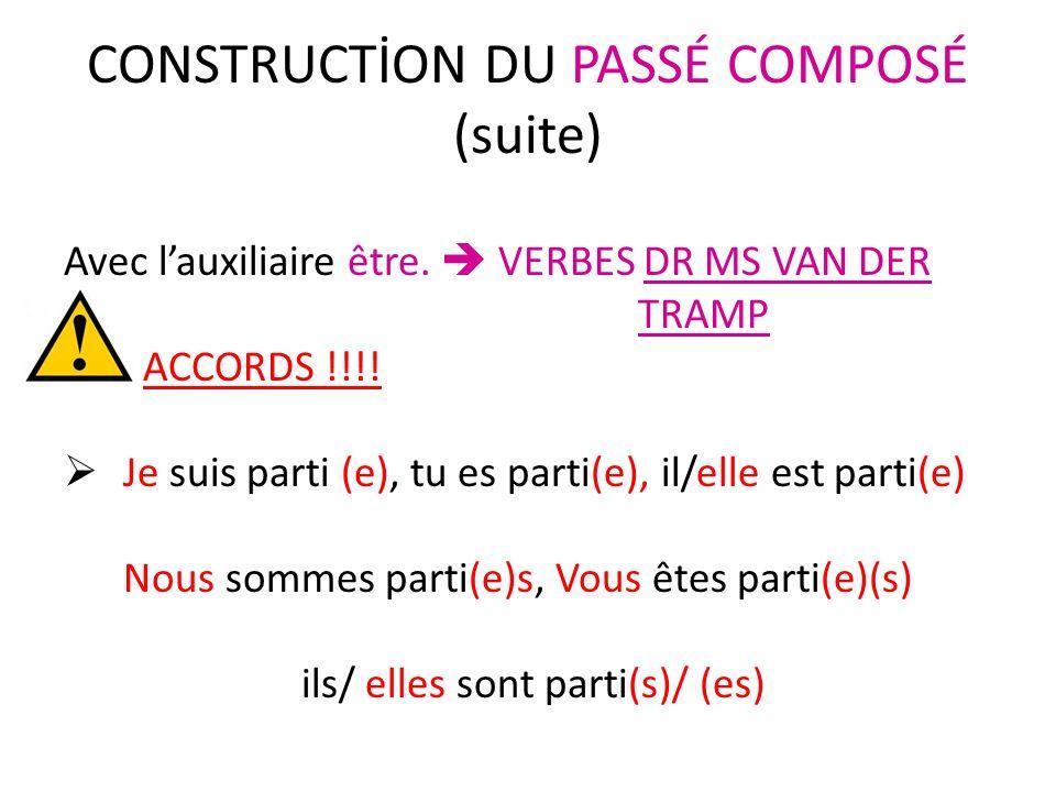 CONSTRUCTİON DU PASSÉ COMPOSÉ (suite)