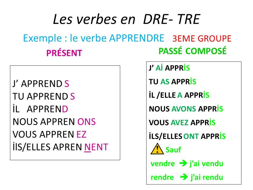 Exemple : le verbe APPRENDRE 3EME GROUPE