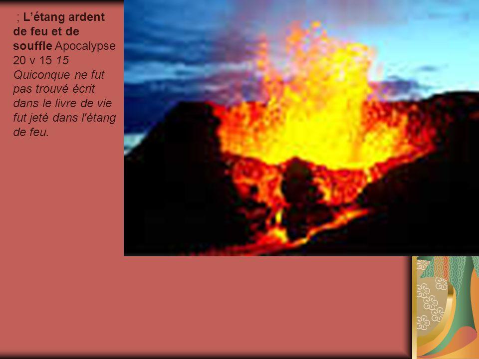 ; L'étang ardent de feu et de souffle Apocalypse 20 v 15 15 Quiconque ne fut pas trouvé écrit dans le livre de vie fut jeté dans l étang de feu.