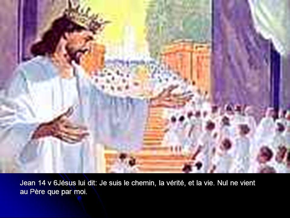 Jean 14 v 6Jésus lui dit: Je suis le chemin, la vérité, et la vie