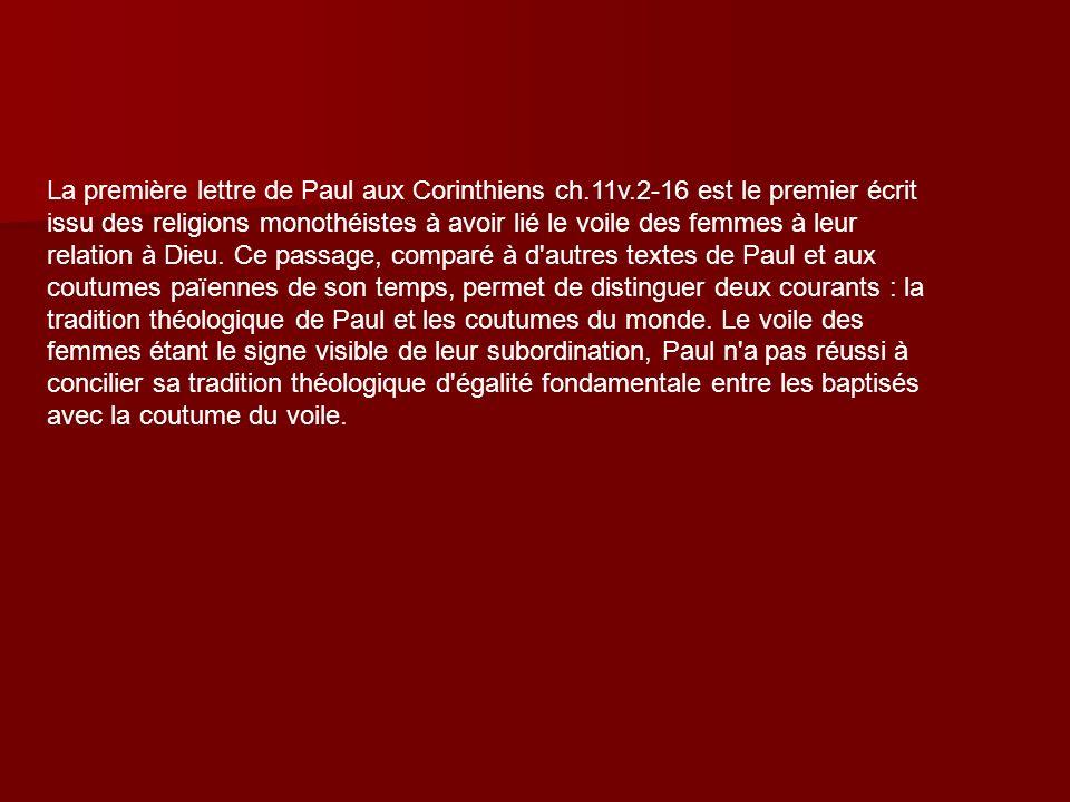 La première lettre de Paul aux Corinthiens ch. 11v