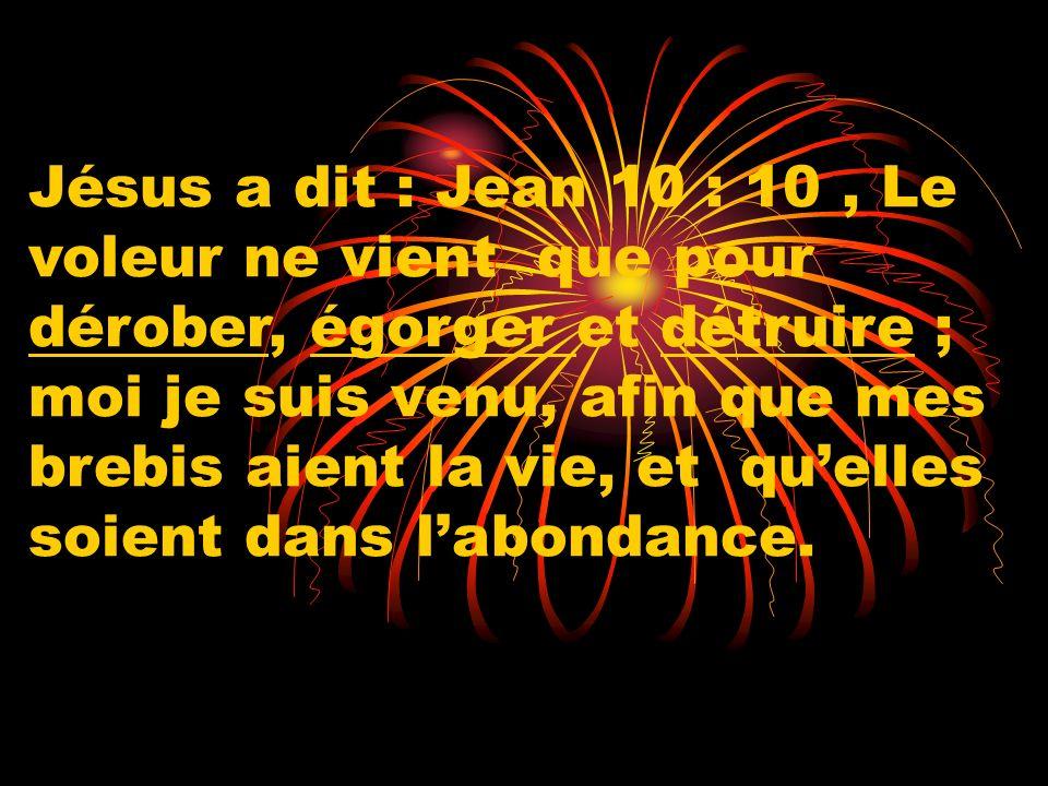 Jésus a dit : Jean 10 : 10 , Le voleur ne vient que pour dérober, égorger et détruire ; moi je suis venu, afin que mes brebis aient la vie, et qu'elles soient dans l'abondance.