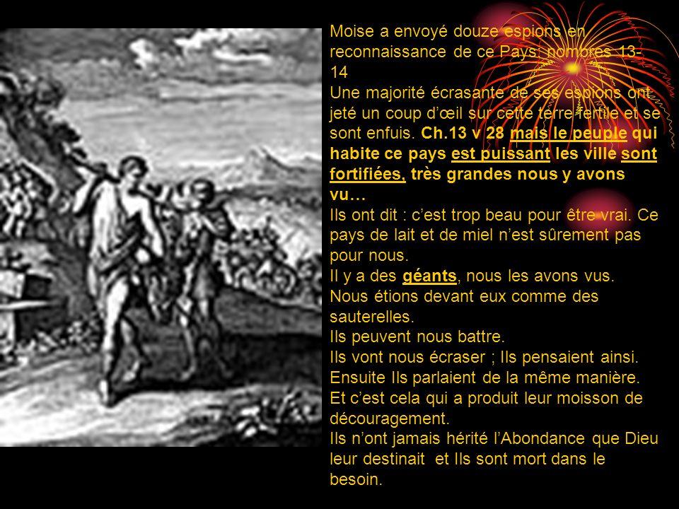 Moise a envoyé douze espions en reconnaissance de ce Pays: nombres 13- 14