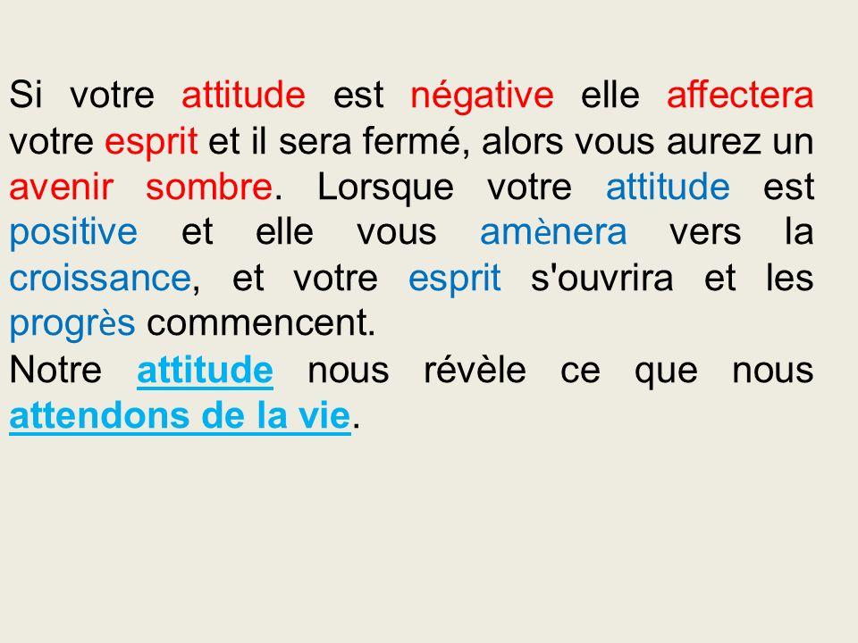 Si votre attitude est négative elle affectera votre esprit et il sera fermé, alors vous aurez un avenir sombre. Lorsque votre attitude est positive et elle vous amènera vers la croissance, et votre esprit s ouvrira et les progrès commencent.