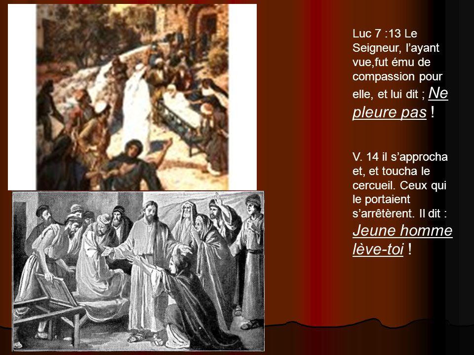 Luc 7 :13 Le Seigneur, l'ayant vue,fut ému de compassion pour elle, et lui dit ; Ne pleure pas !