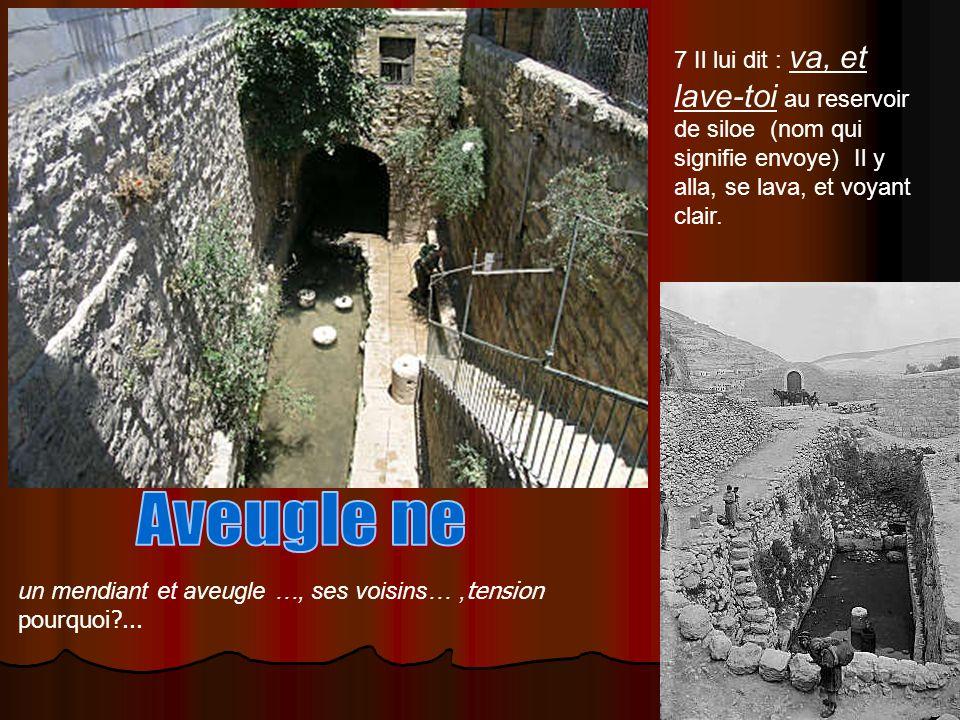 7 Il lui dit : va, et lave-toi au reservoir de siloe (nom qui signifie envoye) Il y alla, se lava, et voyant clair.