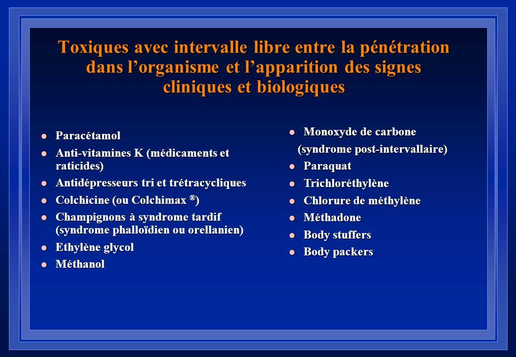 Toxiques avec intervalle libre entre la pénétration dans l'organisme et l'apparition des signes cliniques et biologiques